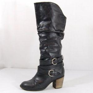 Diba Black Vegan Leather Tall Heeled Ridding Boots
